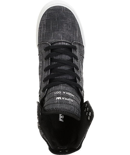 Supra Skytop Washed Black Canvas Skate Shoes