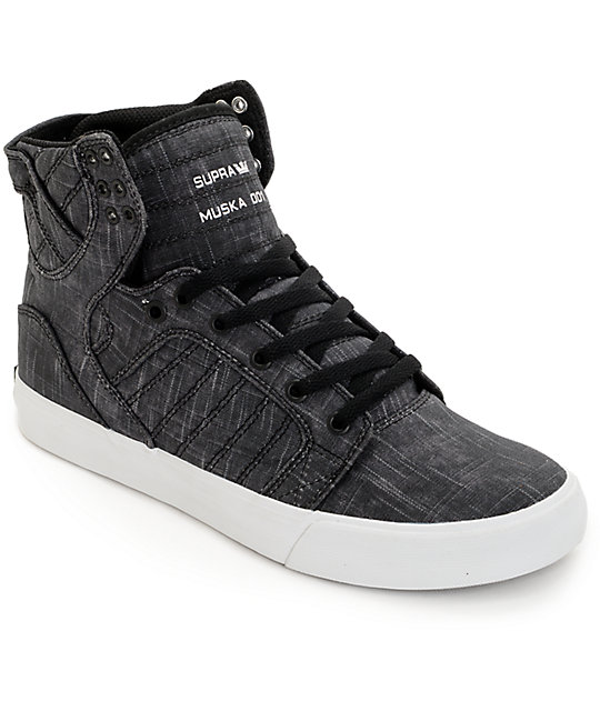 d10d8c38cc4a Supra Skytop Washed Black Canvas Skate Shoes