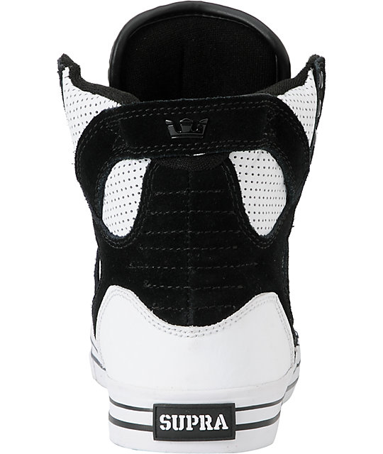 Supra Skytop White & Black Perforated Leather Skate Shoes