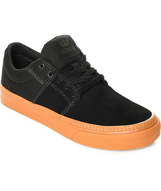 Supra Stacks Vulc II HF Black & Gum Suede Skate Shoes ...