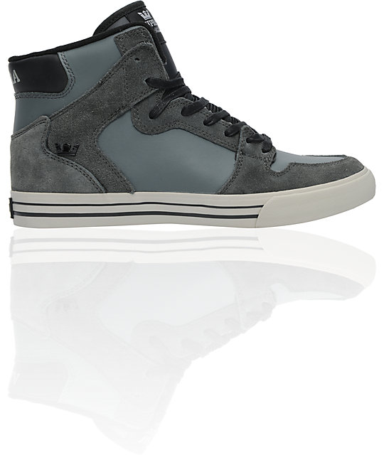 09d2edaf131e Supra Stevie Wiliams Vaider Charcoal Grey Leather Shoes