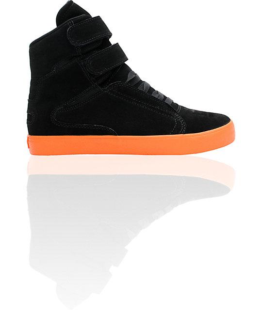 d63fc504db4b Supra TK Society Black Suede   Fluorescent Orange Shoes