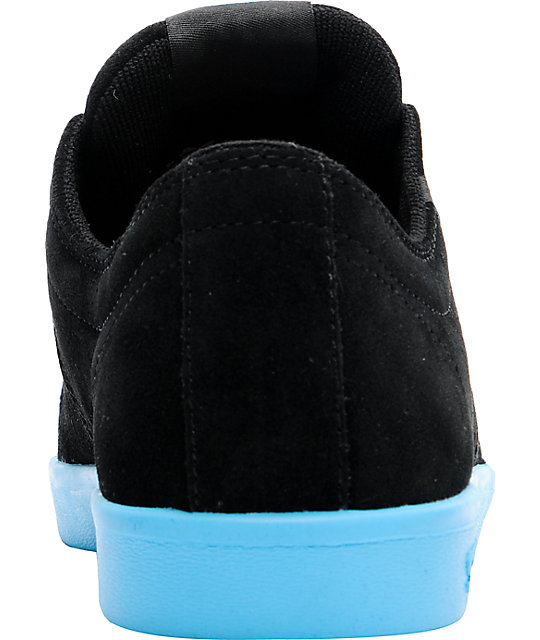 Supra TK Stack Black Suede & Fluorescent Blue Skate Shoes