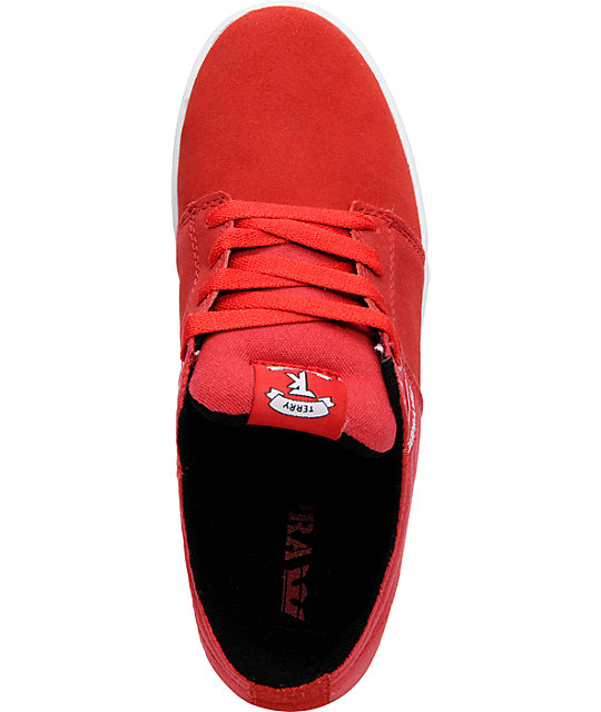 Supra TK Stacks Red Suede & Canvas Shoes