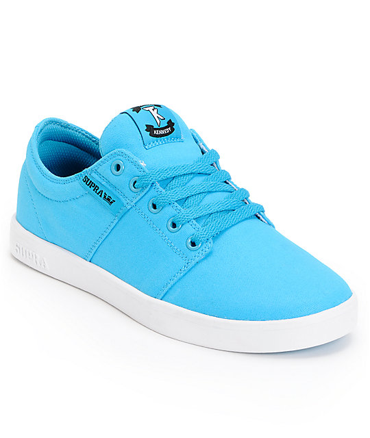 Supra TK Stacks Turquoise & White Canvas Skate Shoes