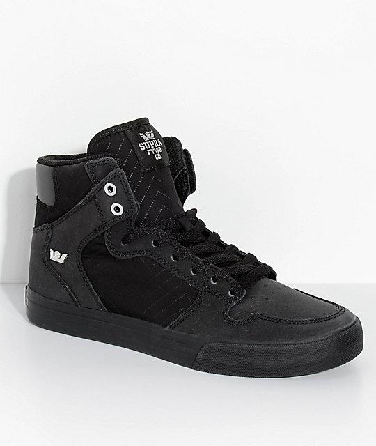 Supra Vaider All Black Nubuck & Nylon Skate Shoes ...