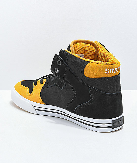 Supra Vaider Black, Gold & White Skate Shoes