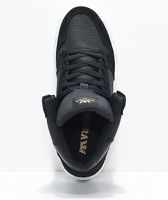Supra Vaider Black, White, Gold, Suede & Perforated Leather Skate Shoes