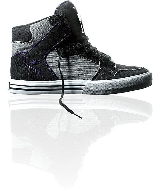 Supra Vaider Black, Grey & Denim Shoes | Zumiez