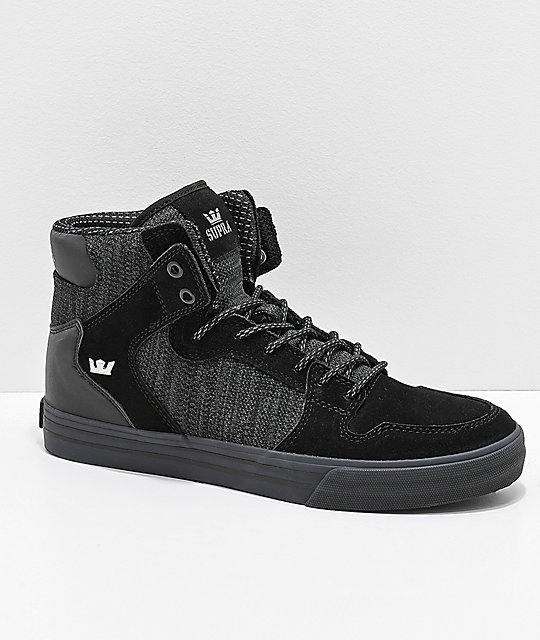 6e900b5a9583 Supra Vaider Black   Charcoal Reflective Suede   Canvas Skate Shoes ...