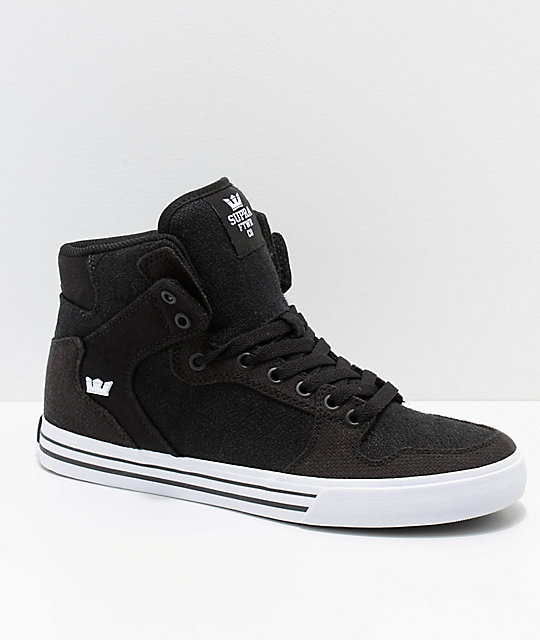 116232d201c2 Supra Vaider Black   White Mixed Canvas Skate Shoes