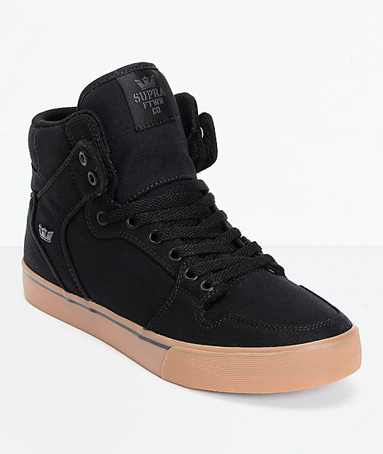 Supra Vaider Black Canvas & Gum Skate Shoes