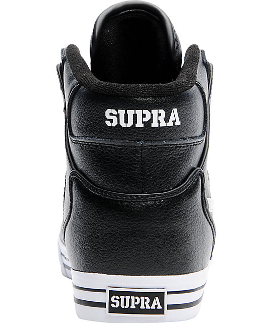 Supra Vaider Black Leather Skate Shoes