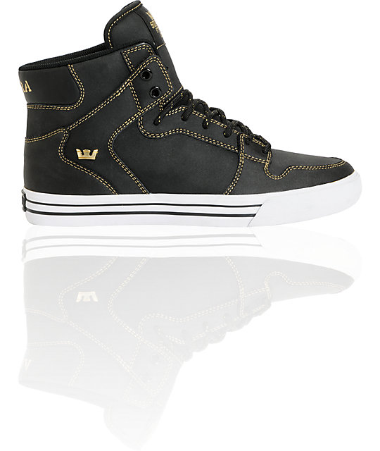 Supra Vaider Black Satin TUF & Gold Shoes