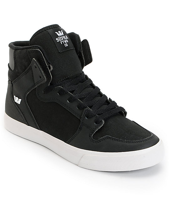 Supra Vaider Black TUF, Canvas & White Skate Shoes