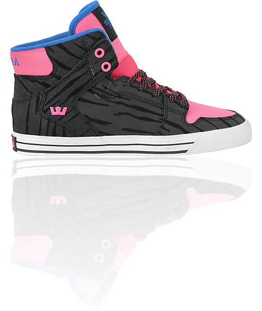 Supra Vaider Black Zebra, Pink & Royal Nubuck Skate Shoes