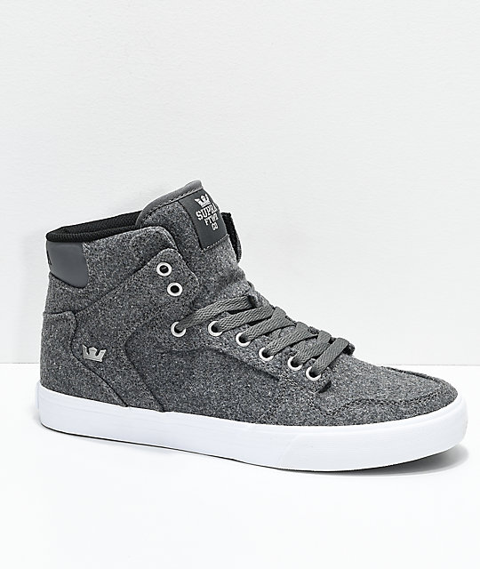 size 40 63602 d8d01 Supra Vaider Charcoal   White Wool Skate Shoes   Zumiez.ca