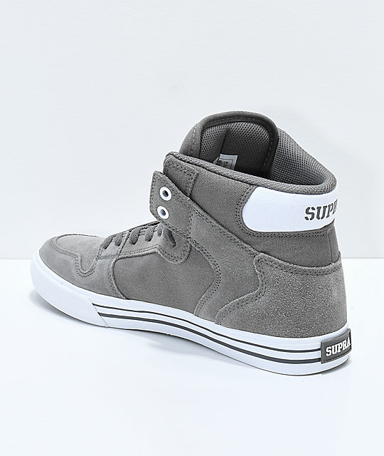 Supra Vaider Charcoal Suede & Canvas Skate Shoes