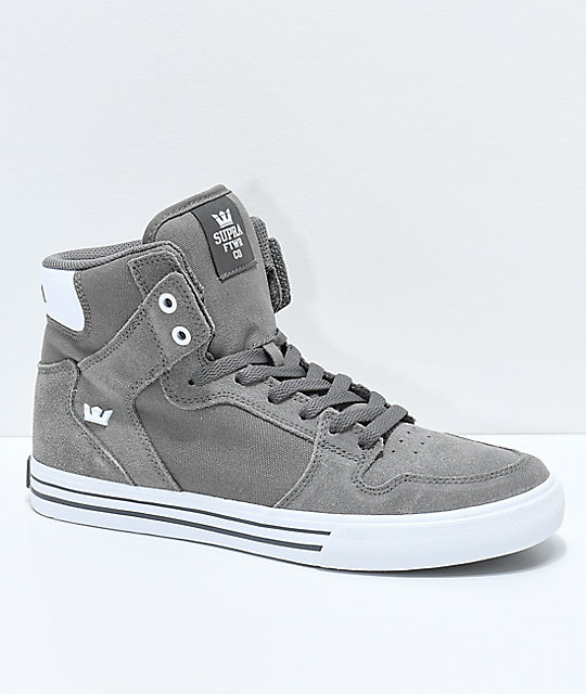 Supra Vaider Charcoal Suede & Canvas Skate Shoes ...