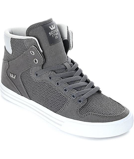 Supra Vaider Grey   White Canvas Knit Skate Shoes  f0928b5e7
