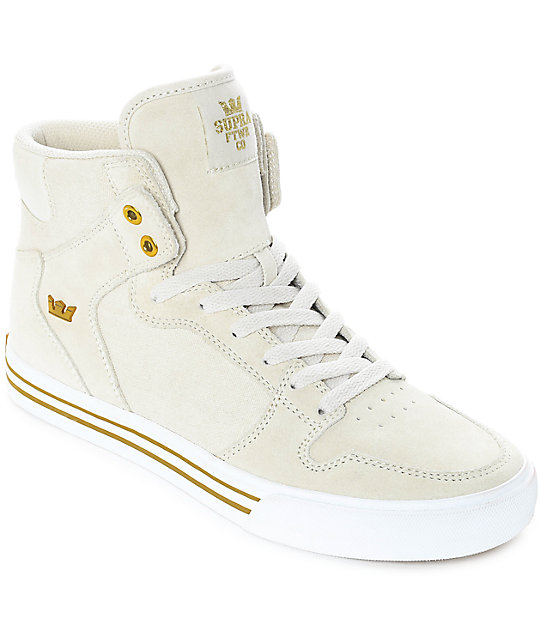 Supra Vaider Off-White Suede & Canvas Skate Shoes ...