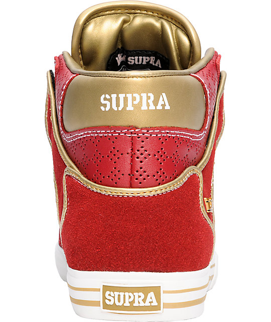 Supra Vaider Red & Gold Shoes