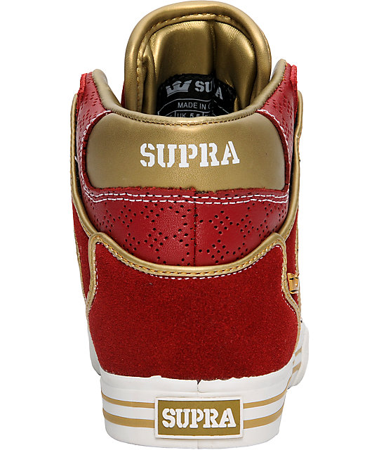 Supra Vaider Red Leather Shoes