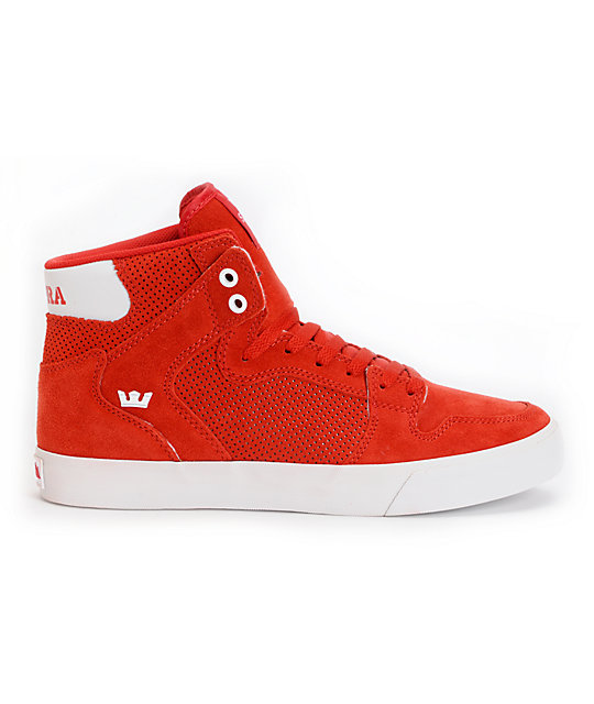 Supra Vaider Red Perforated Suede Skate Shoes