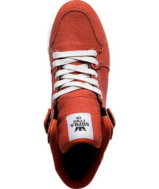 Supra Vaider Red Washed Canvas Shoes