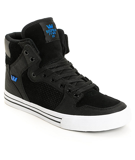 Supra Vaider Ripstop Black Suede & Blue Shoes