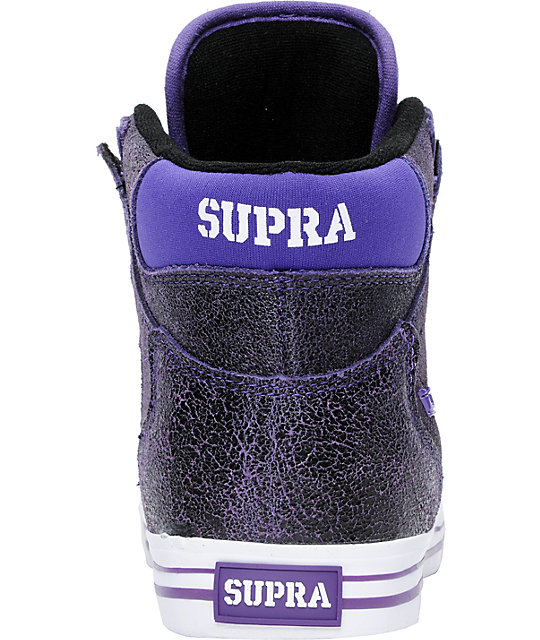 Supra Vaider Stevie Williams Purple Cracked Leather Skate Shoes