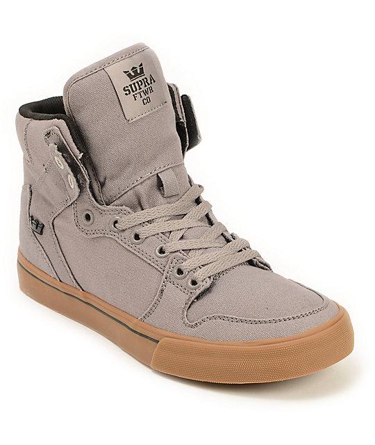 Supra Vaider Storm Grey & Gum Canvas Skate Shoes ...