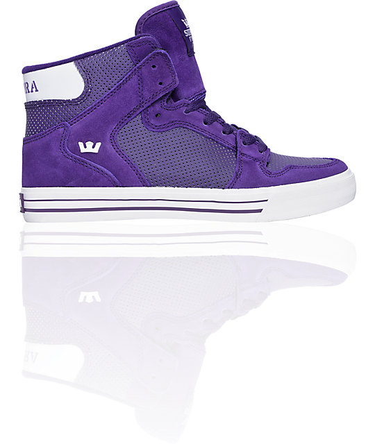 Supra Vaider White & Purple Leather Shoes