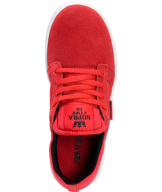 Supra Westway Red & White Kids Skate Shoes