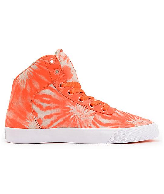 63ba14b7e6eb ... Supra Womens Cuttler Fluorescent Orange Tie Dye Shoes