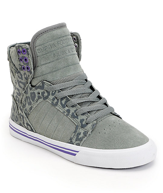 Supra Womens Skytop Grey   Cheetah Print Suede Shoes  553df959db