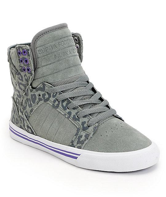 Supra Womens Skytop Grey & Cheetah Print Suede Shoes ...