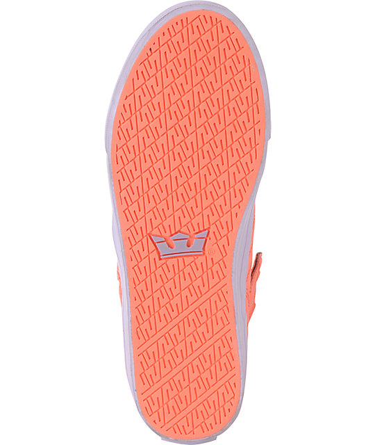 Supra Womens Skytop Neon Coral Leather & Nylon Shoes