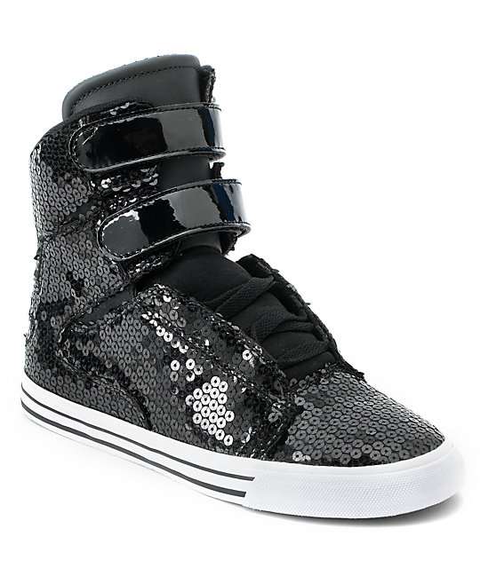 Supra Womens Society Black Sequin High Top Shoes