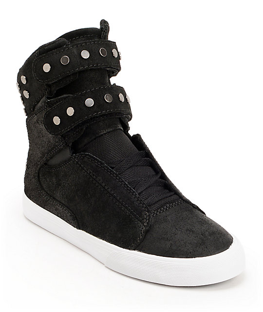 48048a5af92c Supra Womens TK Society Studded Black Waxed High Top Shoes