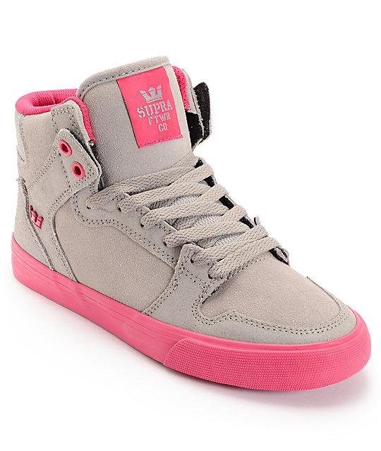 Supra Womens Vaider Grey Suede   Magenta Shoes  6a3a8081c