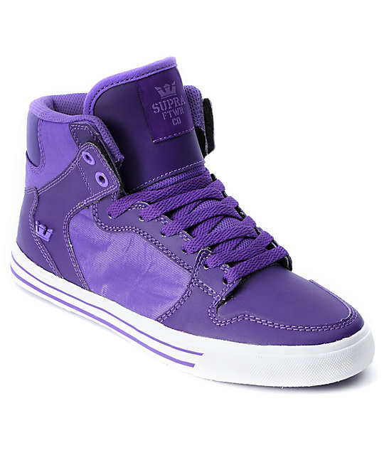 d4f3ecddce62 Supra Womens Vaider Purple High Top Shoes