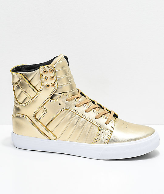 44530a30e37e Supra x Modelo Skytop Especial Gold   White Skate Shoes