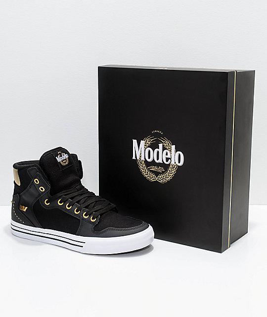 supra x modelo vaider negra black gold white skate shoes zumiez