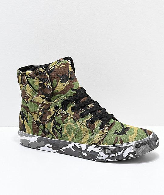 Supra x Rothco Skytop Green Camo Skate Shoes  2d4be4d1bb00