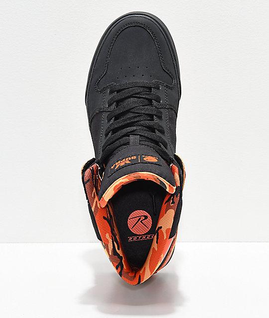 63981a375e1 Supra x Rothco Vaider Black & Savage Orange Camo Skate Shoes | Zumiez