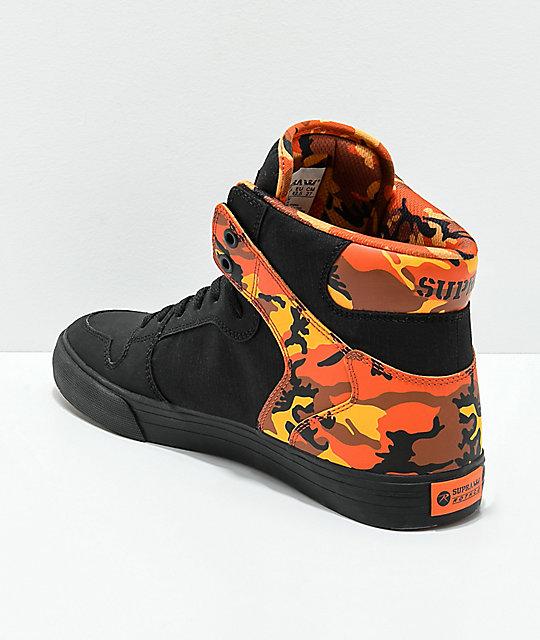 supra x rothco vaider black amp savage orange camo skate