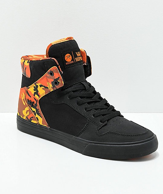 supra x rothco vaider black amp savage orange camo skate