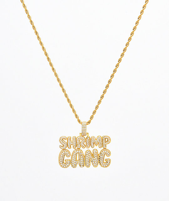 Supreme Patty x The Gold Gods Shrimp Gang Script cadena con colgante