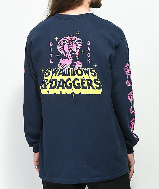 Swallows & Daggers Bite Back camiseta de manga larga en azul marino